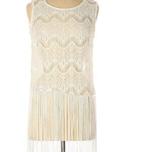 White  top with fringes and lace medium